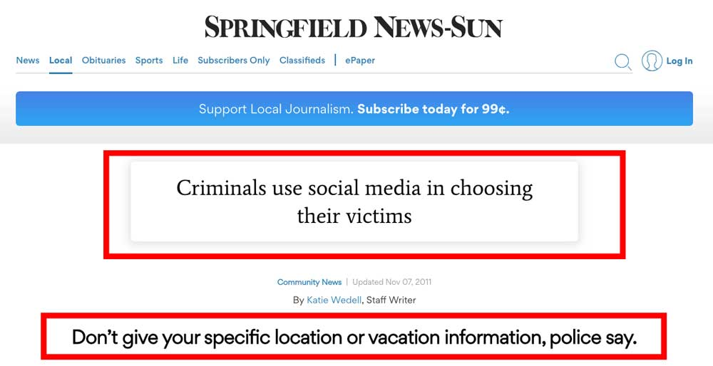Article about criminals using social media to track victims