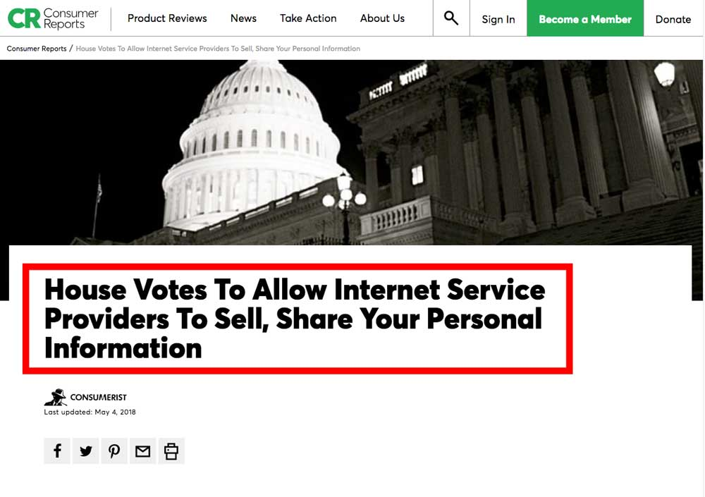 House Vote to Allows your ISP to sell your information